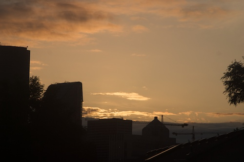 sunset over downtown Seattle